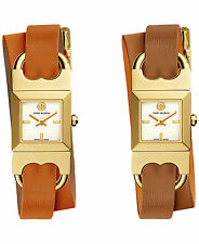 NEW Authentic Tory Burch Surrey Leather Strap Gold Swiss made Watch Bracelet