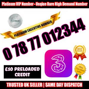 PLATINUM Number Three-VIP Executive Sim - 0 78 77 012344 - Easy to Memorise B135