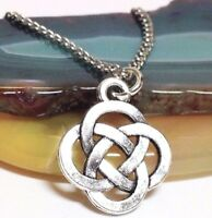 "CELTIC KNOT_Small Pendant on 18"" Chain Necklace_Irish Trinity Pagan Silver_141N"