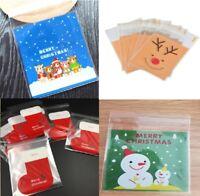 Christmas Cookie Bags Plastic Seal Santa Sweet Gift Biscuit Bag Cellophane Bear