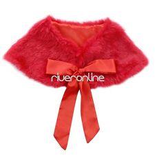 Girls Kids Faux Fur Jacket Wrap Shrug Bolero Coat Shawl Cape Wedding Party Gift