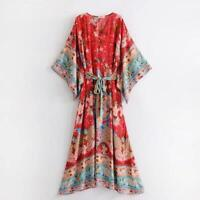 Women Summer Hippie Deep V neck Kimono Sleeve Floral Print Maxi BOHO DRESS Lady
