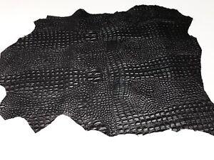 BLACK ALLIGATOR CROCODILE 3D embossed on Italian lambskin leather skins 4-8sqf