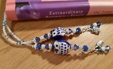 HANDMADE BLUE PORCELAIN OWL BEADED THONG BOOKMARK SWAROVSKI CRYSTALS & CHARMS