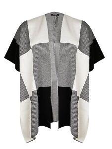 Evans Womens Black Check Cape Knitwear Cardigan Coatigan Top Short Sleeve