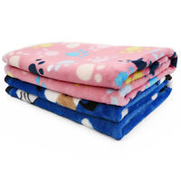 Soft Pet Blanket Small Large Paw Print Dog Puppy Cat Warm Fleece Bed Mat Cushion