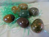 Vintage Lot of 7 Stone Alabaster Marble Easter Eggs Earth Tones Heavy Beautiful!