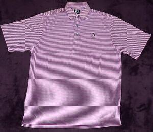 Footjoy Polo Shirt FJ Golf Lightweight Short Sleeve Purple Striped Medium