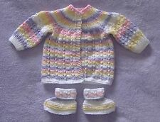Handknitted Pastels Multi colour Baby coat & bootees - Newborn size