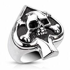Herren Damen Edelstahl Biker Rocker Ring Silber IP Poliert Totenkopf Pik Ass
