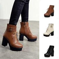 Womens Platform Non-slip Ankle Boots Zip Lace Up Round Toe Punk 8cm Heel Shoes