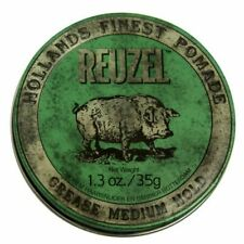 REUZEL Grease Hold Hair Styling Pomade Piglet Wax/Gel, Medium, Green, 1.3 oz 35g