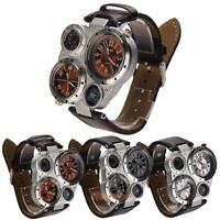 Sport Military Luxury Oulm Quartz Dial Men Stainless Steel Leather Wrist Watch