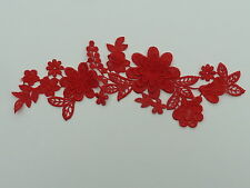 25cm by 7cm BEAUTIFUL RED 3d FLOWERS GUIPURE / VENISE APPLIQUE IN RED ref AP7