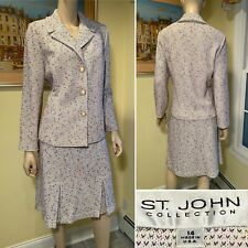 ST JOHN Size 14 Multi-Color Boucle Tweed Stretch Wool-Blend Knit SKIRT SUIT