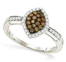 Chocolate Brown & White Diamond Ring 10K White Gold Marquise Cluster Ring .33ct