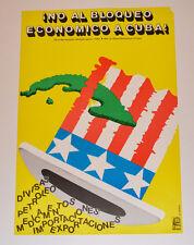 Political OSPAAAL Solidarity Original 1991 Cuban POSTER.No embargo.No bloqueo