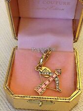 RARE! BRAND NEW JUICY COUTURE PAVE BOW PINK ARROW BRACELET CHARM IN TAGGED BOX