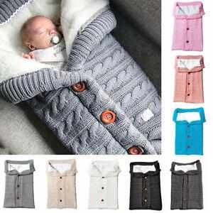 Newborn Infant Baby Blanket Knit Crochet Warm Swaddle Wrap Sleeping Bag