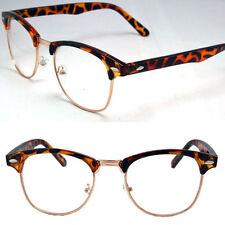 Designer Retro Clear Lens Nerd Frames Glasses Mens Womens Eyewear Tortoise Gold