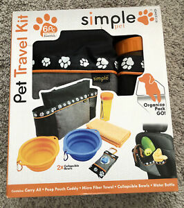 Pet Travel Kit Simple Pet 6 Pieces Organize Pack Go Carry All, Bowls Towel NEW!
