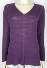 Eileen Fisher purple v-neck pullover thin sweater knit top ladies womens Small