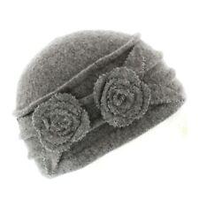 Ladies Agnes Wool Cloche Beanie Hat With Metallic Flower Detail