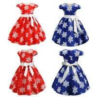 Girls Princess Dress Christmas Gown Wedding Party Birthday Bowknot Ballroom Maxi