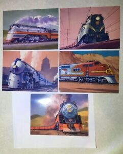 5 FDC RR RAILROAD Train 20c Postcards With Matching 33c Stamps