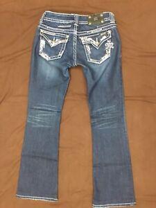 MISS ME Paris Boot Cut Bedazzled Embellished Low Rise Jeans Women's Size 28