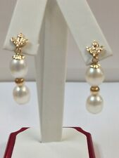 Freshwater Pearl with Natural Diamond Dangle Earrings in Solid 14kt Yellow Gold