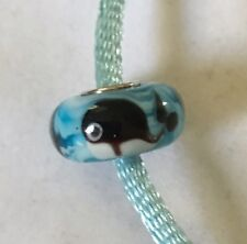 DB Charms Murano Glass Whale Bead Sterling Silver SG-5171 Whales FREE SHIPPING