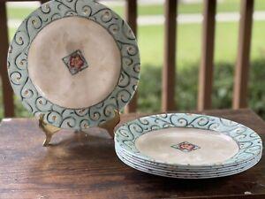 "Corning Corelle Vitrelle Watercolors 8 Lunch/Salad 8.5"" Green Swirl Plates - USA"
