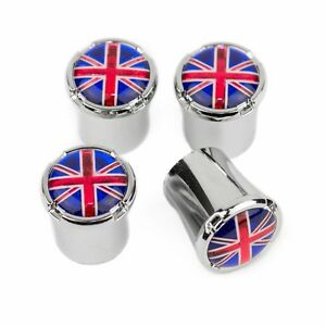 BRITISH FLAG Logo Chrome Tire Valve Stem Caps USA MADE - FREE SHIPPING