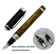 Duke 552 Series Natural Bamboo Fountain Pen Medium Nib Size , Noble Black Cap
