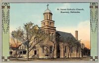 Kearney Nebraska~St James Catholic Church~Art Nouveau Design~1912 Postcard