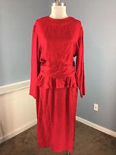 ARGENTI L 10 12 100% SILK Red Peplum Cocktail Party Dress Vintage Mod 80's midi