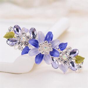 Women's Crystal Flower Hair Clips Slide Hairpin Barrette Hair Pins Accessories