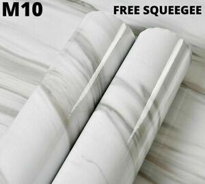 1.22M x 5M Gloss White Marble Grain M10 Vinyl Wrap Film Sticker Car Furniture