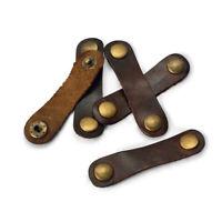 2x Handy Leather Headphone Earphone Cable Tie Cord Organizer Wrap Winder Holder.