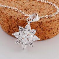 Christmas Snowflake Natural Swiss Blue Topaz Pendant Silver New