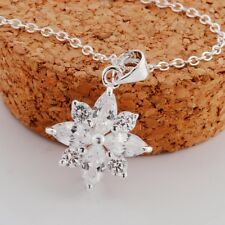 Christmas Snowflake Natural Swiss Blue Topaz Pendant 925 Sterling Silver New