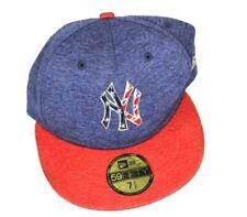 Yankee Baseball Hat Red, White & Blue 71/2 MLB Game 59FIFTY Fitted Cap Flat Brim