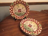 """Thomson Pottery """"TABLECLOTH"""" Checkered ~ Set of 4 ~ Dinner Plates ~ 10 1/2"""""""