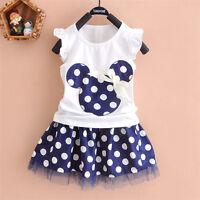 Girls Kids Baby Toddler Tops+Skirt T-shirt Tutu Dress 2PCS Set Outfits Clothes