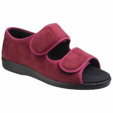 GBS Med Brompton Burgundy Touch Fastening Ladies Slipper Textile