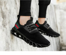 Soft Mesh Black Running Shoes High Performing Red/Green Stripe Outdoor Sneaker