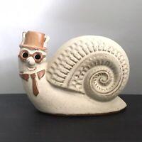 Vintage Shelf Pottery Of Halifax Ceramic Snail Money Box Smart Hat Tie Glasses