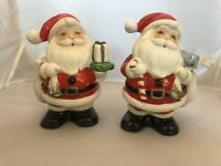 Vtg Homco Santa Claus Piggy Bank Christmas Decor Figurine #5212 Decor PAIR *18