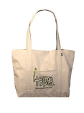 Hemp Reusable Shopping Tote Grocery Bag with Hemptopia Logo and Front Pocket